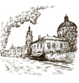 sketch a street old city city centre vector image