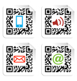 Social media icons set with QR code sign label vector image vector image