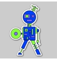 sticker - colored cartoon robot vector image
