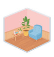 sweet home books frame on table sofa potted plant vector image vector image