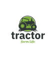 tractor logo inspiration in green color flat vector image