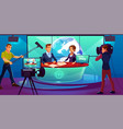 tv studio television presenters reporting news vector image