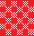 white squares on red background geometric pattern vector image