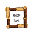 wooden frame of tree logs isolated on white vector image vector image