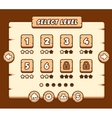Wooden level selection panel for game vector image vector image