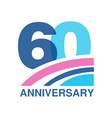 60th anniversary colored logo design happy vector image