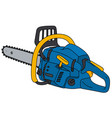 blue and yellow chainsaw vector image vector image