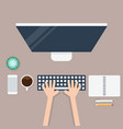 business workspace layout with office supplies vector image vector image
