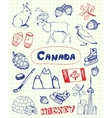 Canadian Symbols Pen Drawn Doodles Set vector image vector image