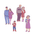 cartoon big family character hugging home vector image vector image