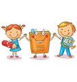 children holding hands with a book vector image vector image
