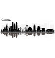 china city skyline black and white silhouette vector image vector image