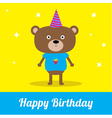 Cute cartoon bear with hat Happy Birthday party ca vector image