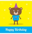 Cute cartoon bear with hat Happy Birthday party ca vector image vector image