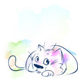 cute cat sketch on abstract watercolor background vector image
