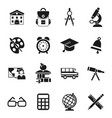 digital black school icons vector image
