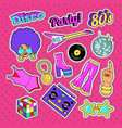 Disco party doodle music fashion set with woman