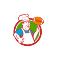Fat Chef Cook Twirling Football Circle Retro vector image vector image