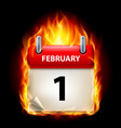 first february in calendar burning icon on black vector image vector image