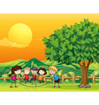 Five children playing jumping rope vector image vector image