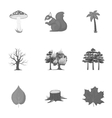 Forest set icons in monochrome style Big vector image vector image