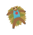 funny sloth lying on grass lazy exotic vector image