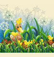 garden scene with duck and ducklings vector image vector image