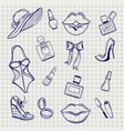 girls fashion elements set sketch vector image vector image