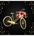 Gold bicycle with a basket full of flowers vector image