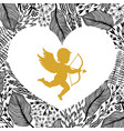 gold cupid with arrow and bow floral frame
