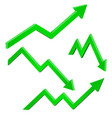 green financial up and down moving arrows rising vector image