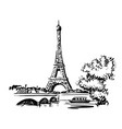 hand draw eiffel tower vector image vector image