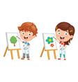 kids making art vector image