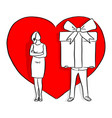 man giving big gift his lover in the background vector image vector image