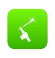 mig welding torch in hand icon digital green vector image vector image