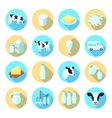 Milk flat icons set vector image