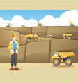 mining worker taking note with a mining background vector image