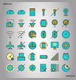 mobile function color line icons perfect pixel vector image vector image