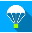 Parachute Flat Long Shadow Square Icon vector image vector image