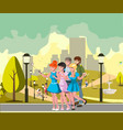 people group taking selfie photo in park vector image vector image