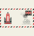 postcard or envelope with london telephone booth vector image