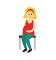 pregnant woman sits on a transport bench vector image vector image