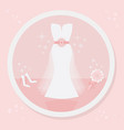 pretty strapless wedding dress icon on pink vector image vector image