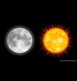 realistic moon and sun on dark background vector image