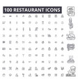 restaurant editable line icons 100 set vector image vector image