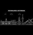 rotterdam silhouette skyline netherlands vector image vector image