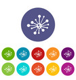 round bacteria set icons vector image vector image