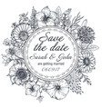 save date card with hand drawn flowers leaves vector image vector image