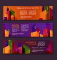 set of colorful horizontal banners with abstract vector image