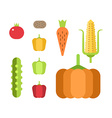 Set of fresh vegetables Flat style vector image